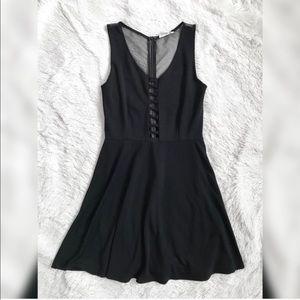 Cotton Candy Black Mesh Skater Mini Dress